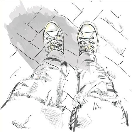 Legs in gumshoes  Vector illustration