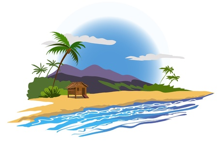 tropical beach with house Vector