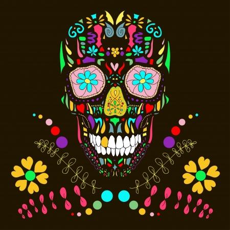 craneo: Cr�neo con adornos florales ilustraci�n vectorial