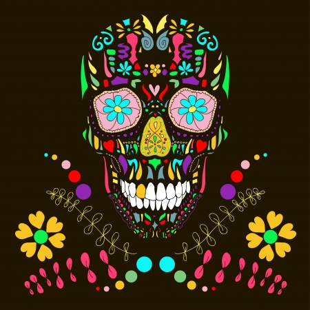 Skull with floral ornament  Vector illustration