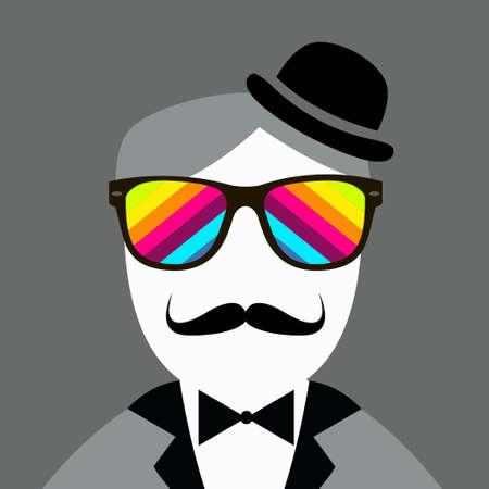 snobby: Vintage silhouette del cappello e baffi