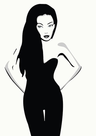 girl with long hair Vector
