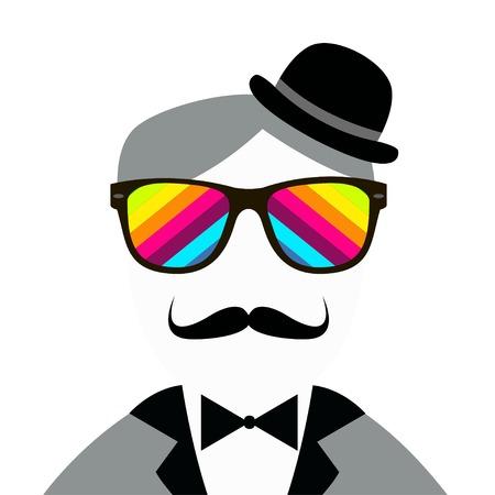snobby: Vintage silhouette di cappello, baffi, farfallino Vettoriali