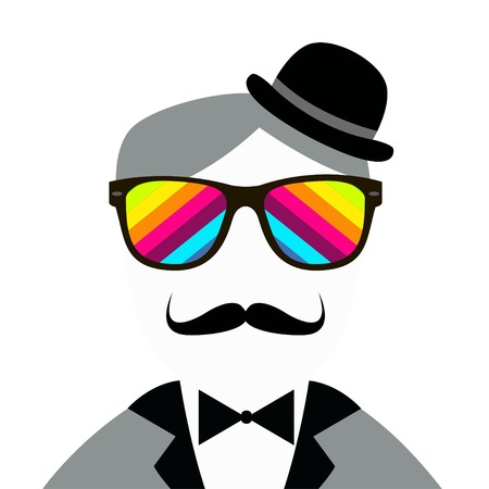 snobby: Vintage silhouette of top hat, mustaches, bow tie