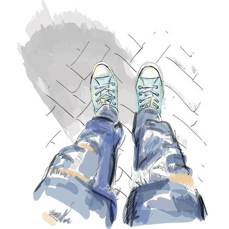 Legs in gumshoes