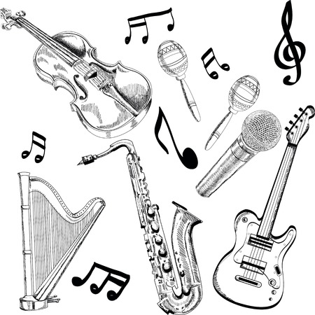 Set of Music Instruments - hand drawn in Illustration