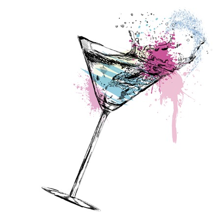 Martini cocktail with white background  Vettoriali
