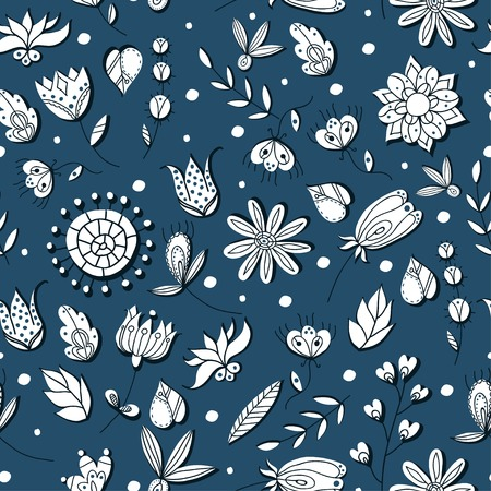Vector floral seamless pattern illustration on colourful background.  Vector