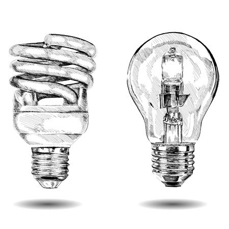 vector hand gemaakte lamp. Grafische schets. Vector illustratie.