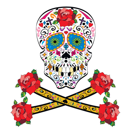 Sugar skull illustration on white background