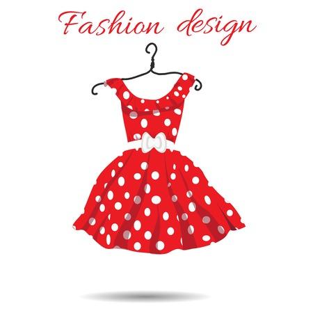 vrouwen jurk polka dot illustratie Stock Illustratie