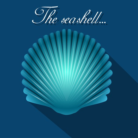 scallop: Sea scallop seashell blue icon