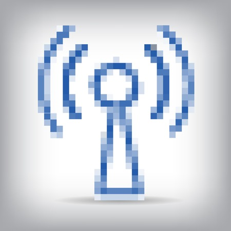 wireless connection: Blue wireless icon for remote access. Illustration