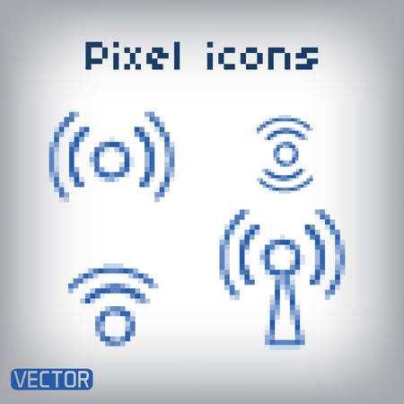 remote access: Set blue wireless icons for remote access. Illustration