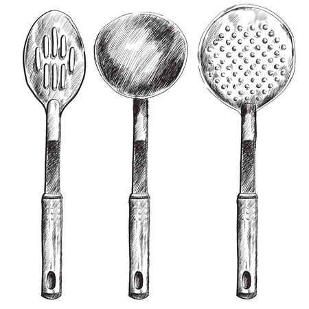 Set of different kitchen spoons, hand drawn vector illustration