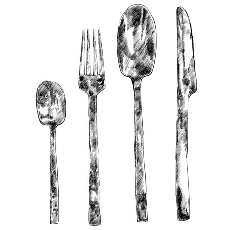 Set for restaurant menu, with spoon, knife and fork vector illustration Vector