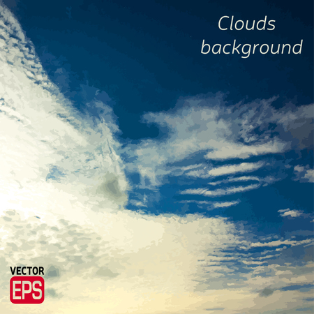 Blue sky with clouds. Vector background. EPS Illustration
