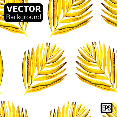 Watercolor palm leaves isolated on white background. Vector Иллюстрация