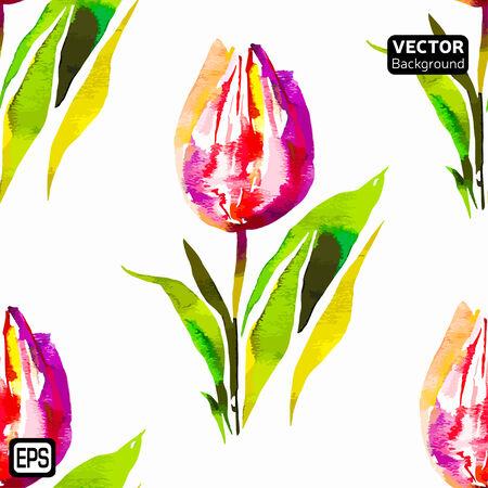 Multicolor Watercolor Vector Flowers.   Vector