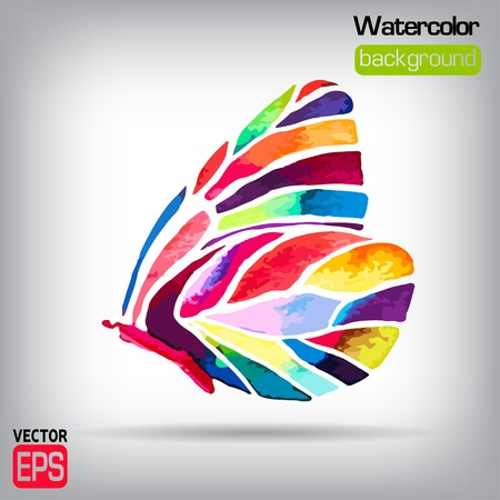 watercolor butterfly vector on background.