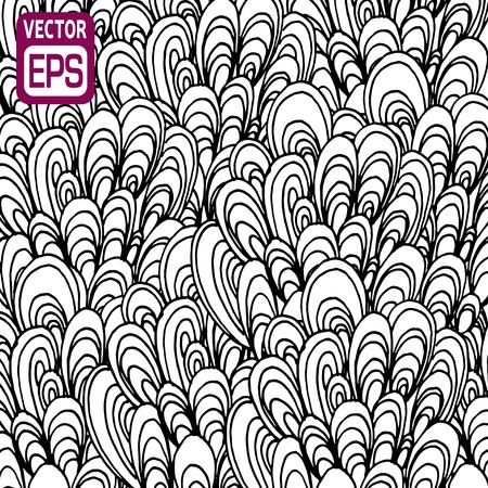 black and white hand drawn pattern. Vector illustration. Vector