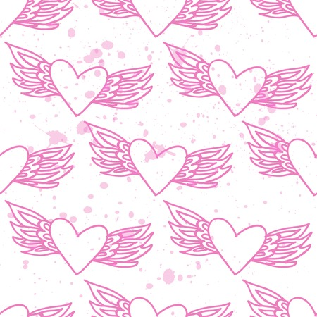 Pink seamless pattern with hearts on a backround. Vector EPS Vector