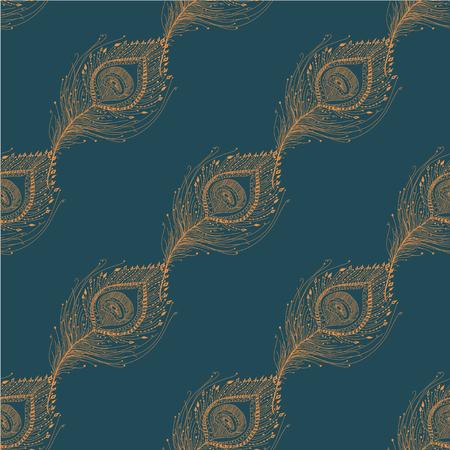 공작 깃털 원활한 패턴 배경입니다. 벡터 EPS 일러스트