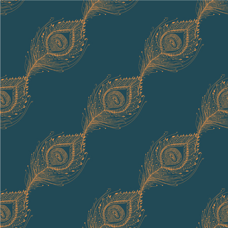 Peacock feather seamless pattern on the background. Vector EPS