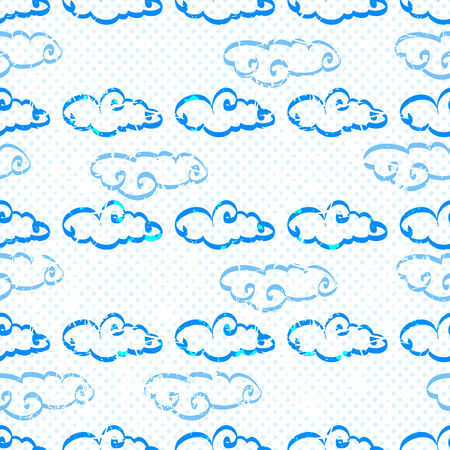 Seamless pattern with clouds on a background. Vector Illusttration. Illustration