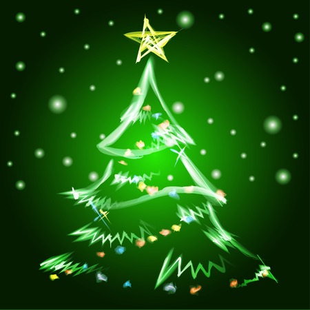 Merry Christmas tree background. Vector illustration. EPS Vector