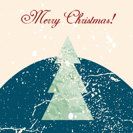 Merry Christmas grunge tree background. Vector illustration. EPS 10 Vector