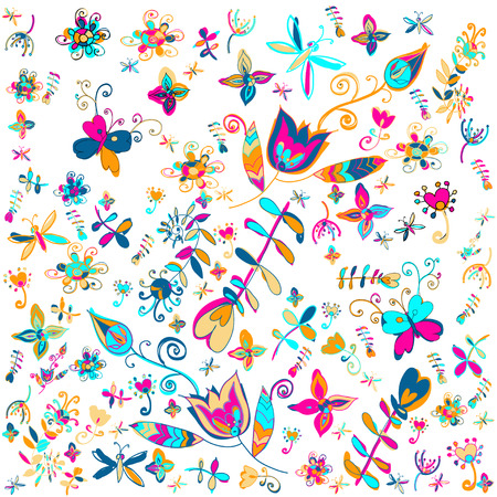 Vector summer floral background vector illustration. Vector