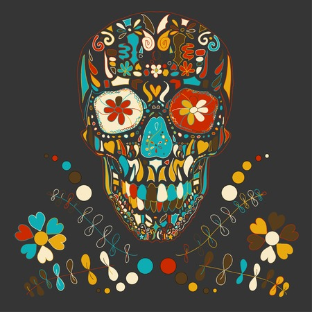 Skull with floral ornament illustration