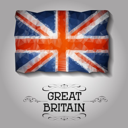 rood: Vector geometric polygonal Great Britainflag. For your design