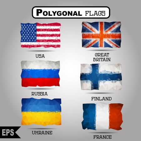ukrainian flag: Vector geometric polygonal world flag collection. For your design Illustration