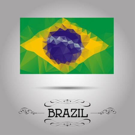 Vector geometric polygonal Brazil flag. For your design Illustration