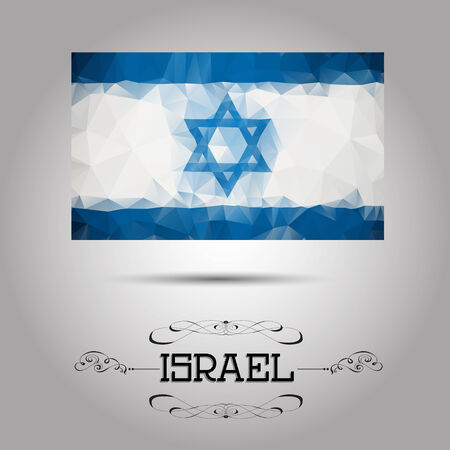 israelite: Vector geometric polygonal Israel flag. For your design Illustration