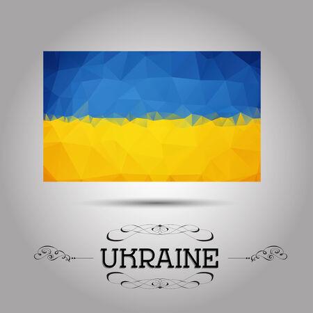 ukraine flag: Vector geometric polygonal Ukraine flag. For your design