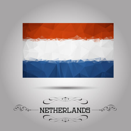 netherlandish: Vector geometric polygonal Netherlands flag. For your design