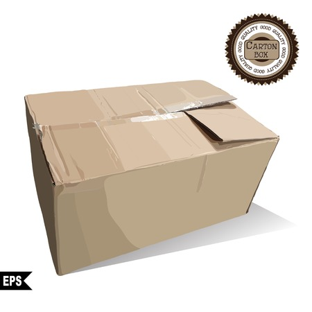 Recycle brown box packaging on white backgroun. vector illustration