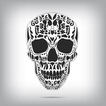 dead body: Ornamental scull as abstract floral illustration on background for design. Vector