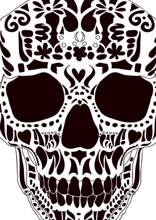 Ornamental scull as abstract floral illustration on background for design. Vector