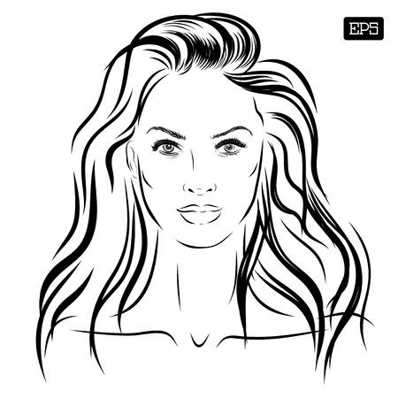 아름 다운 여자 얼굴 손으로 그린 벡터 일러스트 레이 션 (10)를 주당 순이익 일러스트