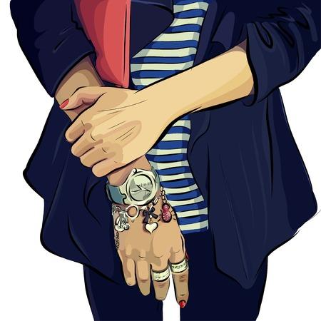 clutch bag: Womans hands with clutch bag and bracelet. Vector. Illustration