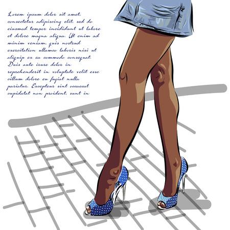 zapatos azules: Ilustraci�n con piernas de la mujer en zapatos azules de la moda de verano. Vector.