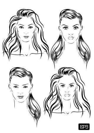 beautiful woman face set hand drawn vector