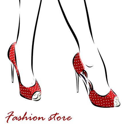 young woman legs up: Illustration with legs of woman in fashion summer red shoes. Vector