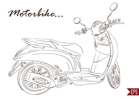 Summer Travel Design - line Scooter. Vector illustration. 일러스트