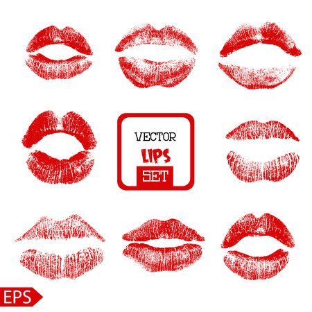 Print of pink lips set. Vector illustration on a white background. EPS Vettoriali