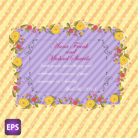 Wedding invitation with flowers for your design.  Vector
